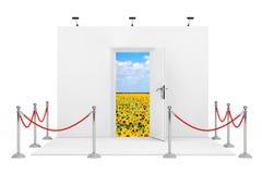 De barrièrekabel rond Handel toont Cabine met Witte Geopende Deur 3d Stock Afbeelding