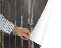 De barsdeur van het mensenverandering gesloten ijzer met donkere ruimte in witte leeg Stock Afbeeldingen