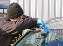 De barst van de reparatie in windscherm Stock Fotografie