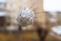 De barsten in het glas schoten teken stock afbeeldingen