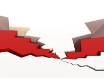De barsten van de oppervlakte met rode vullingen stock illustratie