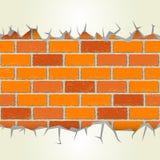 De barsten van het bakstenen muurpleister stock illustratie