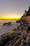 De bas HoofdVuurtoren van de Haven, Nationaal Park Acadia Stock Fotografie