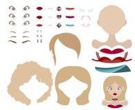De base habillez le jeu avec différents pièces et vêtements de visage dans la palette bleue et rouge Image libre de droits