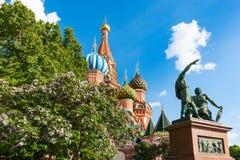 De Basilicumkathedraal van Moskou St op Rood Vierkant Royalty-vrije Stock Afbeeldingen