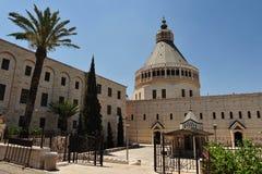 De basiliek van de Aankondiging in Nazareth Stock Foto's
