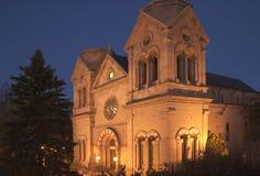 De Basiliek van de kathedraal van st-Francis in Fe van de Kerstman royalty-vrije stock afbeelding
