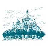 De basiliek van het Heilige Hart van Parijs, Frankrijk Stock Illustratie