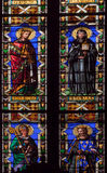 De Basiliek van het kathedraalgebrandschilderde glas van Santa Croce - Florence stock afbeeldingen