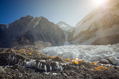 De basiskamp van Everest Het gezicht van het noorden Stock Foto