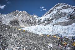 De basiskamp van Everest Het gezicht van het noorden Stock Foto's