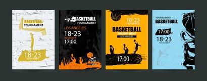 De basketbalbanner, vastgestelde sportenmalplaatjes voor de toernooien, abstracte bal, grunge stileert Royalty-vrije Stock Fotografie
