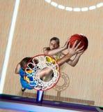 De basketbalspeler blokkeert schot tijdens de gelijke royalty-vrije stock fotografie