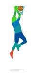 De basketbalspeler springt en werpt bal in een basketplayer royalty-vrije illustratie