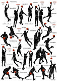 De basketbalspelers silhouetteren Royalty-vrije Stock Foto