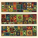 De batikachtergrond van Paisley Etnische Afrikaanse kaarten Stock Afbeeldingen