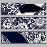 De batikachtergrond van Paisley Etnische krabbelkaarten Stock Afbeelding