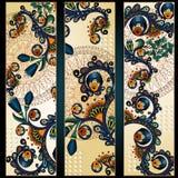 De batikachtergrond van Paisley Etnische stammenkaarten Stock Afbeelding
