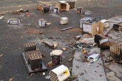 De batterijen en petards van het brandwond uit vuurwerk royalty-vrije stock afbeeldingen