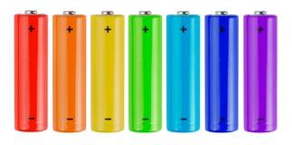 De batterijen van de regenboog Stock Fotografie
