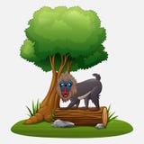 De baviaan van de beeldverhaalmandril onder boom vector illustratie
