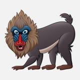 De baviaan van de beeldverhaalmandril op witte achtergrond wordt geïsoleerd die royalty-vrije illustratie