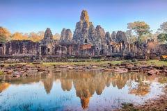 De Bayontempel, Angkor, Siem oogst, Kambodja Stock Foto's