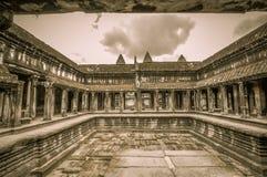 De Bayontempel en Angkor Wat Khmer complex in Siem oogsten, Kambodja Royalty-vrije Stock Foto