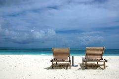 De bedden van het strand stock foto