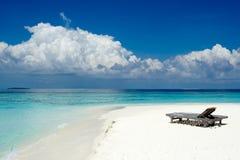 De bedden van het strand stock afbeelding