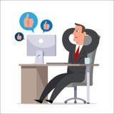 De bediende tijdens werkuren communiceert in sociale netwerken Royalty-vrije Stock Foto