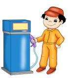 De bediende van het benzinestation Stock Fotografie