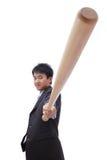 De bedrijfs Aziatische mens neemt honkbalknuppel Stock Afbeelding