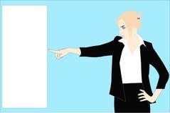 De bedrijfs dame toont een lege kaart Stock Fotografie