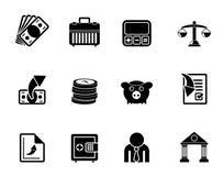 De bedrijfs en financiën pictogrammen van van de silhouetbank, Stock Foto's