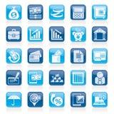 De bedrijfs en financiënpictogrammen van de bank, Stock Afbeelding