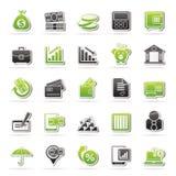 De bedrijfs en financiënpictogrammen van de bank, Stock Afbeeldingen