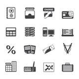 De bedrijfs, financiën en bureau pictogrammen van het van van de silhouetbank, Stock Fotografie