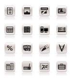 De bedrijfs, financiën en bureaupictogrammen van de bank, royalty-vrije illustratie