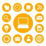 De bedrijfs geplaatste pictogrammen van het bureau en Royalty-vrije Stock Afbeeldingen