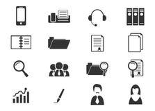 De bedrijfs geplaatste pictogrammen van het bureau en Royalty-vrije Stock Foto's