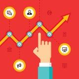 De bedrijfs infographic groei - vectorillustratie in vlak stijlontwerp voor presentatie, boekje, website enz. stock illustratie