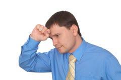 De bedrijfs mens denkt van hem een probleem na Stock Fotografie