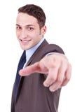 De bedrijfs mens richt vinger op u Stock Afbeeldingen