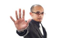 De bedrijfs mens toont eindeteken met zijn palm Stock Afbeeldingen