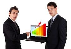 De bedrijfs mens toont op laptop met grafiek 2 Royalty-vrije Stock Afbeeldingen