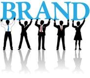 De bedrijfs mensen bouwen het woord van de merkidentiteit Royalty-vrije Stock Afbeeldingen