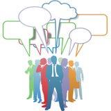 De bedrijfs mensen kleuren communicatie toespraakbel Stock Fotografie
