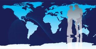 De bedrijfs mensen met wereld brengen in kaart Royalty-vrije Stock Fotografie