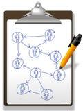 De bedrijfs mensen plannen het klembordpen van het netwerkdiagram Stock Fotografie